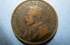 1917  Vintage CANADA KING GEORGE V  ONE CENT LARGE BRONZE COIN, Fine Circulated