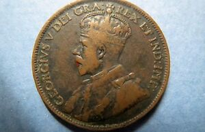 1917-Vintage-CANADA-KING-GEORGE-V-ONE-CENT-LARGE-BRONZE-COIN-Fine-Circulated