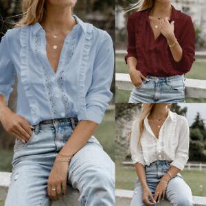 Mode-Femme-Couture-en-Dentelle-a-volants-Manche-Longue-Simple-Chemise-Haut-Plus