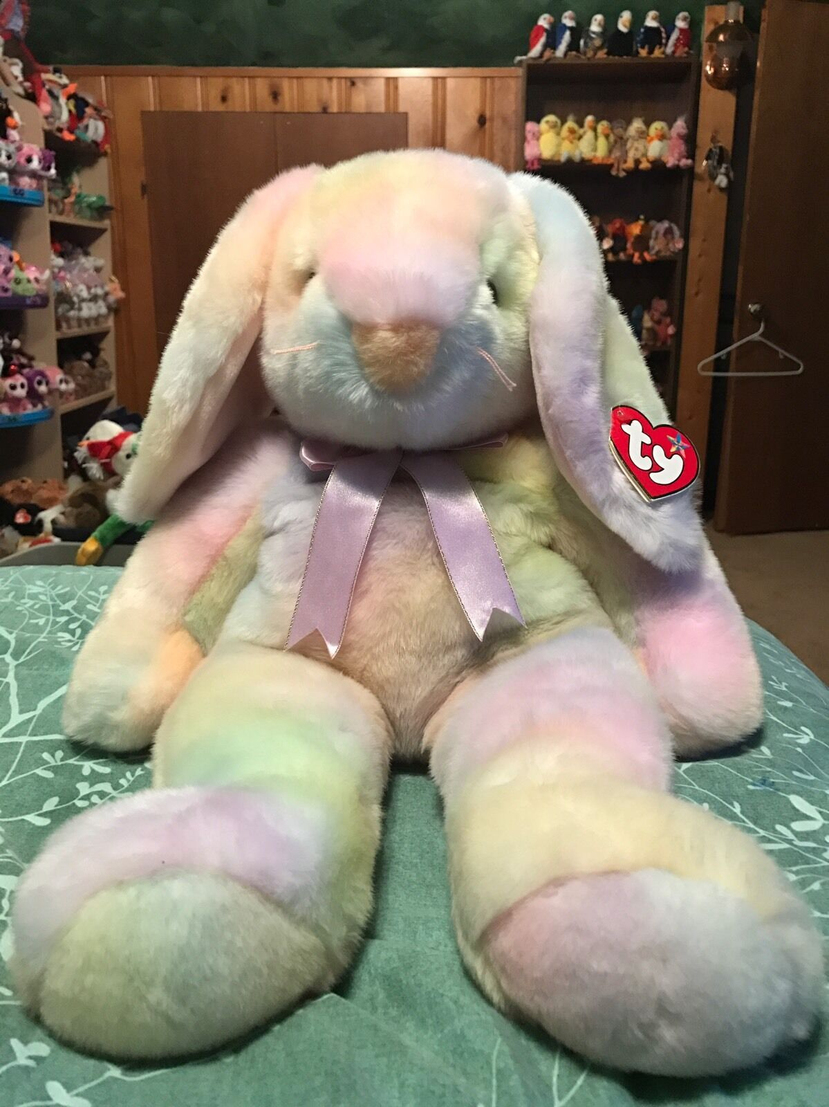"""Ty HIPPIE -Tie-Dyed Easter Rabbit 18"""" Large Beanie Buddy  Retired RARE & VHTF"""