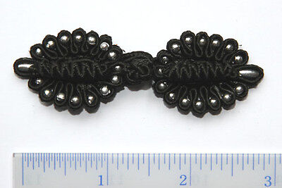 4 pairs #F5 Black Chinese Triple Knot Frog Button Closures 2.25 inches long