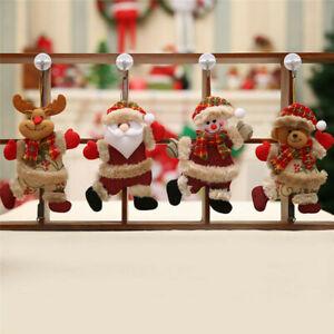 4pcs Christmas Ornament Santa Claus Plush Snowman Xmas Trees Hanging Party Decor