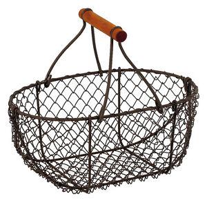 Primitives Vintage  Oval Chicken Wire Basket Fruit Basket With Wooden Handle