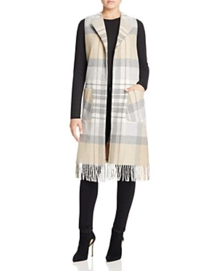 Helene Berman Wool Blend Plaid Duster Vest with Fringe Camel-Grey, Small