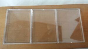 Set-of-3-Trading-Card-Holders-Rigid-Plastic-Snap-Open-Protective-2-3-4-034-x-4-034