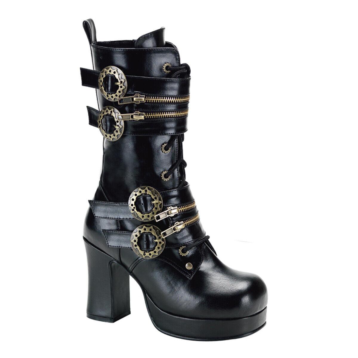 PLEASER Demonia Gothika-100 3 3 4  Heel, 1  Platform Steampunk Calf Stiefel Vegan