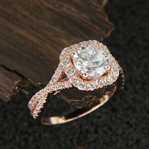 9702b52eadf5 Halo Diamond 1.50 Ct Round Solitaire Engagement Ring Solid 10K Rose ...