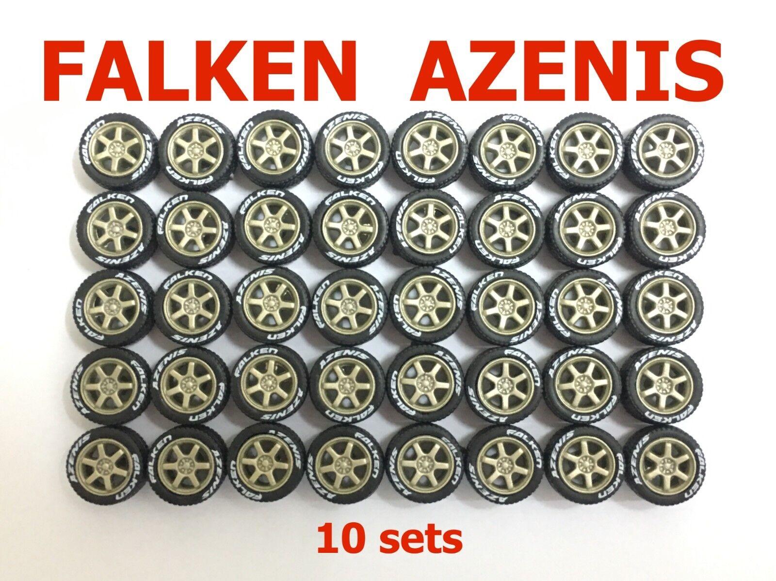 1 64 Les Pneus en Caoutchouc TE37 bronze Rim coupe Hot Wheels MBX Diecast - 10 Set-R009-10