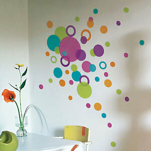 Image Is Loading 88 Dots Circle Wall Stickers Multi Colour Size