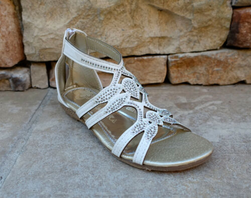 New Girl/'s Gladiator Sandals Stones Studded Casual Shoes--CR03-8