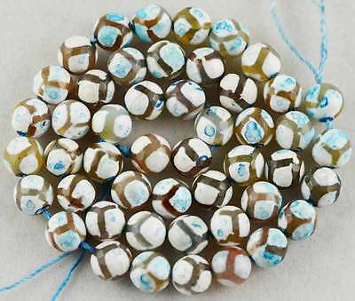 8mm White Strips Agate Round Faceted Loose Beads 15""