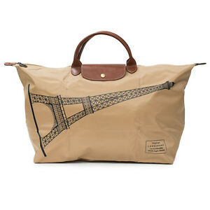 LONGCHAMP Le Pliage France Tour Eiffel Paris Beige XLarge Brown Bag ... 5b608c7215ce5