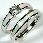 White Topaz White Fire Opal Inlay 925 Sterling Silver Solitaire & Band Ring Set