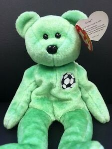 2d1fea367cb TY Beanie Baby Kicks Green Teddy Bear VERY RARE Retired Collectible ...