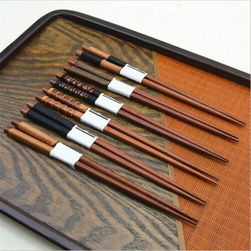 6 Pair handmade Japanese Natural chestnut wood Chopsticks Per Value Set N6J3