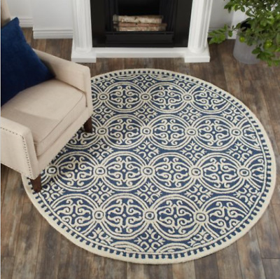 Made Ivory Navy Wool Area Rug, 8 Round Rugs