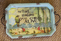 Serving Table what Makes You Come Alive? Metal Handle Wood Tray