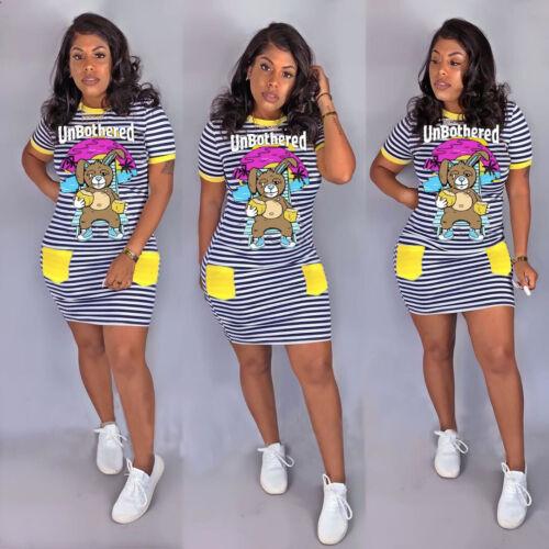 Fashion Women Cartoon Print Stripes Crew Neck Short Sleeves Bodycon Mini Dress