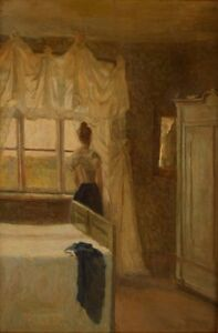 Danish-painter-circa-1890s-Bedroom-interior-with-a-woman-oil-on-canvas
