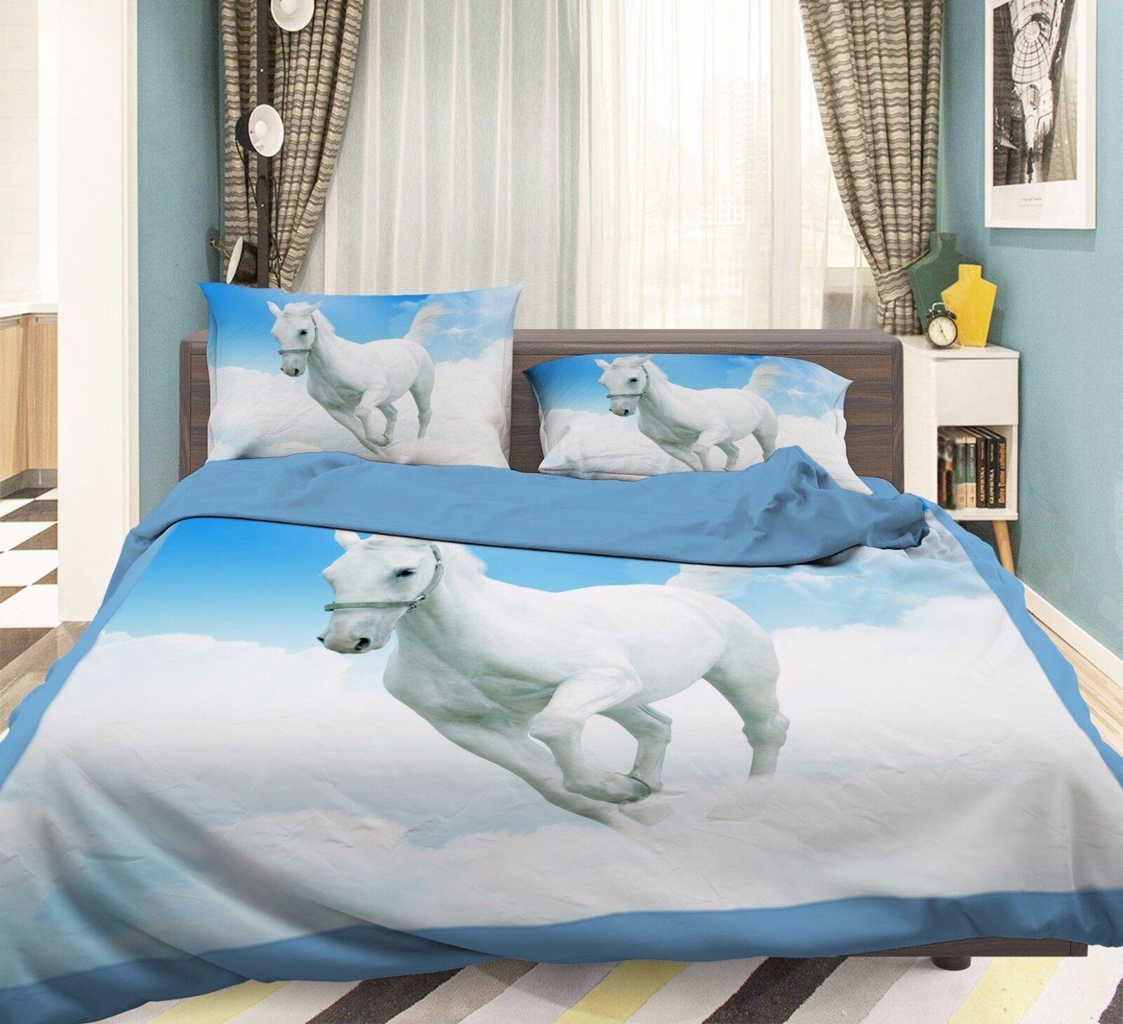3D Run Unicorn 706 Bed Pillowcases Quilt Duvet Cover Set Single Queen UK Summer