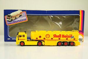 SIKU-3511-Tanque-de-topacio-Shell-Fuel-Oil-Truck-1-55-Metal-New-OvP-Mercedes-Benz