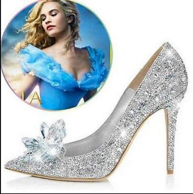 Cinderella Wedding Party Diamond Ladies' Pumps Crystal Womens High Heels Shoes