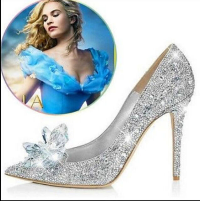 Cinderella Wedding Party Diamond Pumps Crystal Womens High Heels Shoes New