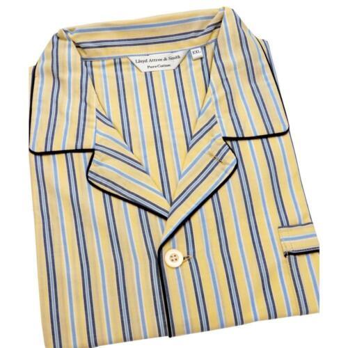 Lloyd Attree & Smith Gents 100% Cotton Pyjamas Pajamas Yellow & Blue Stripe XXL