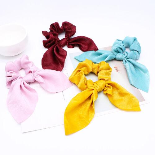 4pcs Solid Satin Hair Scrunchies Elastic Bow Rabbit Ponytail Holder Womens Xmas