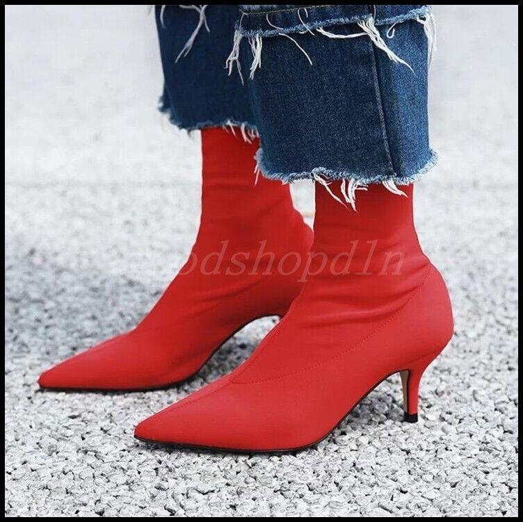 Zapatos de de de fiesta Moda para señoras Elástico Puntera Puntiaguda botas al Tobillo Talón Mediados Gatito Tire de  Entrega directa y rápida de fábrica