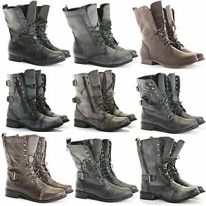 WOMENS-LADIES-MILITARY-ANKLE-WORKER-ARMY-FLAT-LACE-UP-COMBAT-BIKER-BOOTS-SIZE