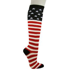 1f428afb6 USA Flag Stars and Stripes Knee High American Pride Flag Socks