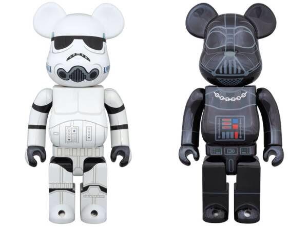 Medicom Estrella Wars 400% Stormtrooper & Darth Vader Cromo Bearbrick Be@rbrick 2pc