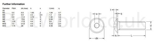 M6 6mm Alta Resistencia bridado botón Cabeza pernos Allen Socket Tornillos Bw