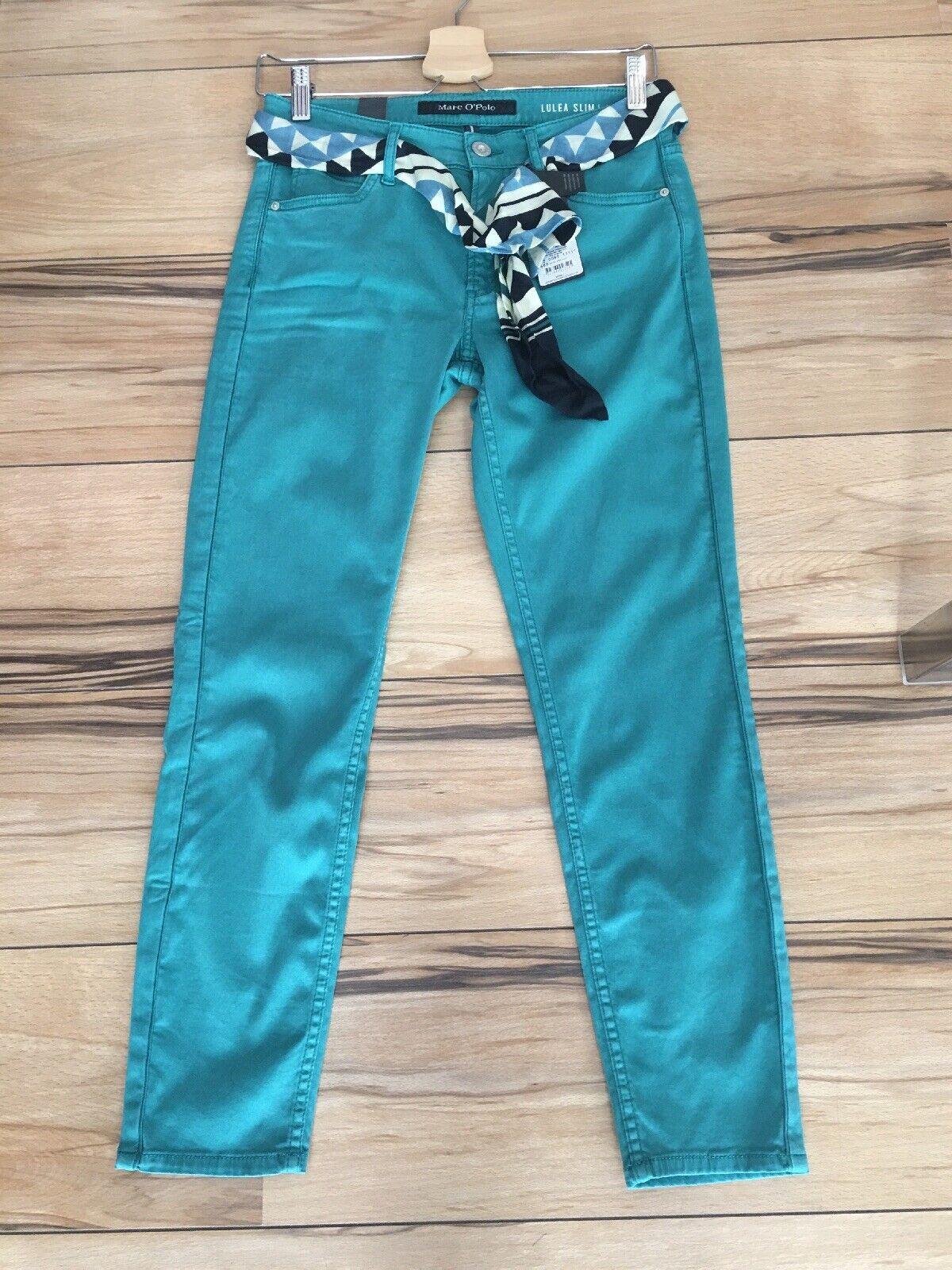 Marcopolo Trousers Lulea Slim Cropped with Tie Belt in Größe 31
