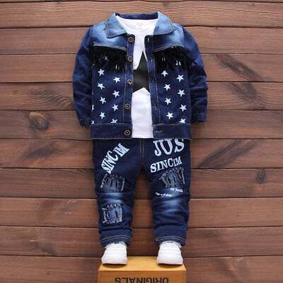 Pants T-shirt 3PCS Kids Baby Boys Denim Outfit Boy Clothes Outfits Sets Coat