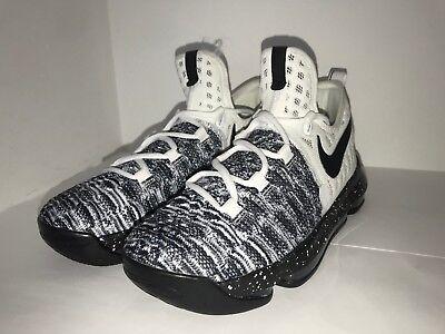 best service f1a6d 52c45 Nike KD 9 Oreo Big Kids White Black Basketball Shoes 855908-100 Youth Size