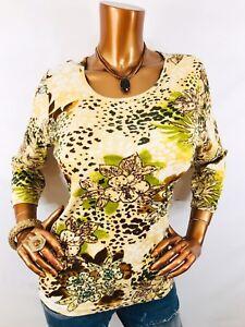 17c35de1e98 Take Two M Top Animal & Floral Print Shiny Sequins 3/4 Slvs Blouse ...
