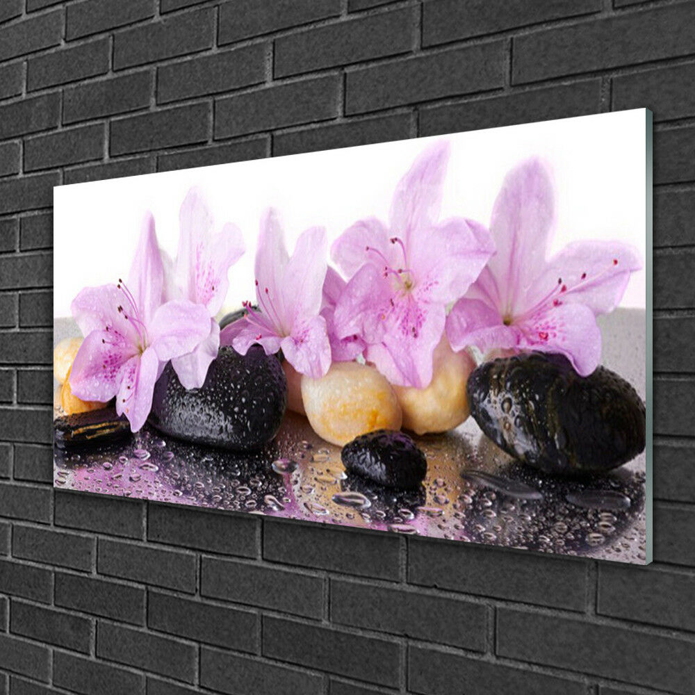 Glass print print print Wall art 100x50 Image Picture Flower Stones Floral 012cfe