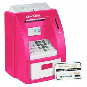 Details about New Elegant Pretty Pink Cash Machine with Security Bank card  X-mass Gift