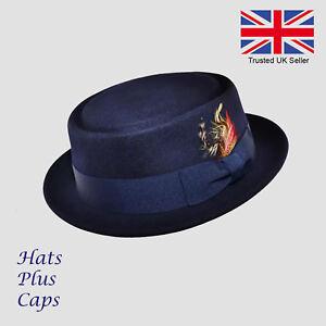 Pork-Pie-Hat-100-Wool-Handmade-Crushable-Navy-Breaking-Bad-Heisenberg-Hat