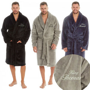 Personalised Men/'s Black Fleece Bath Robe Dressing Gown Crown Christmas Gift