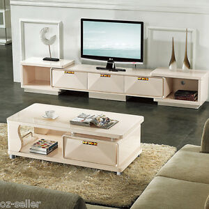 High Gloss TV cabinet unit and coffee table set white with Dark ...