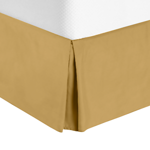 "Luxury Pleated Tailored Bed Skirt Cal King 14"" Drop Dust Ruffle Camel Gold"