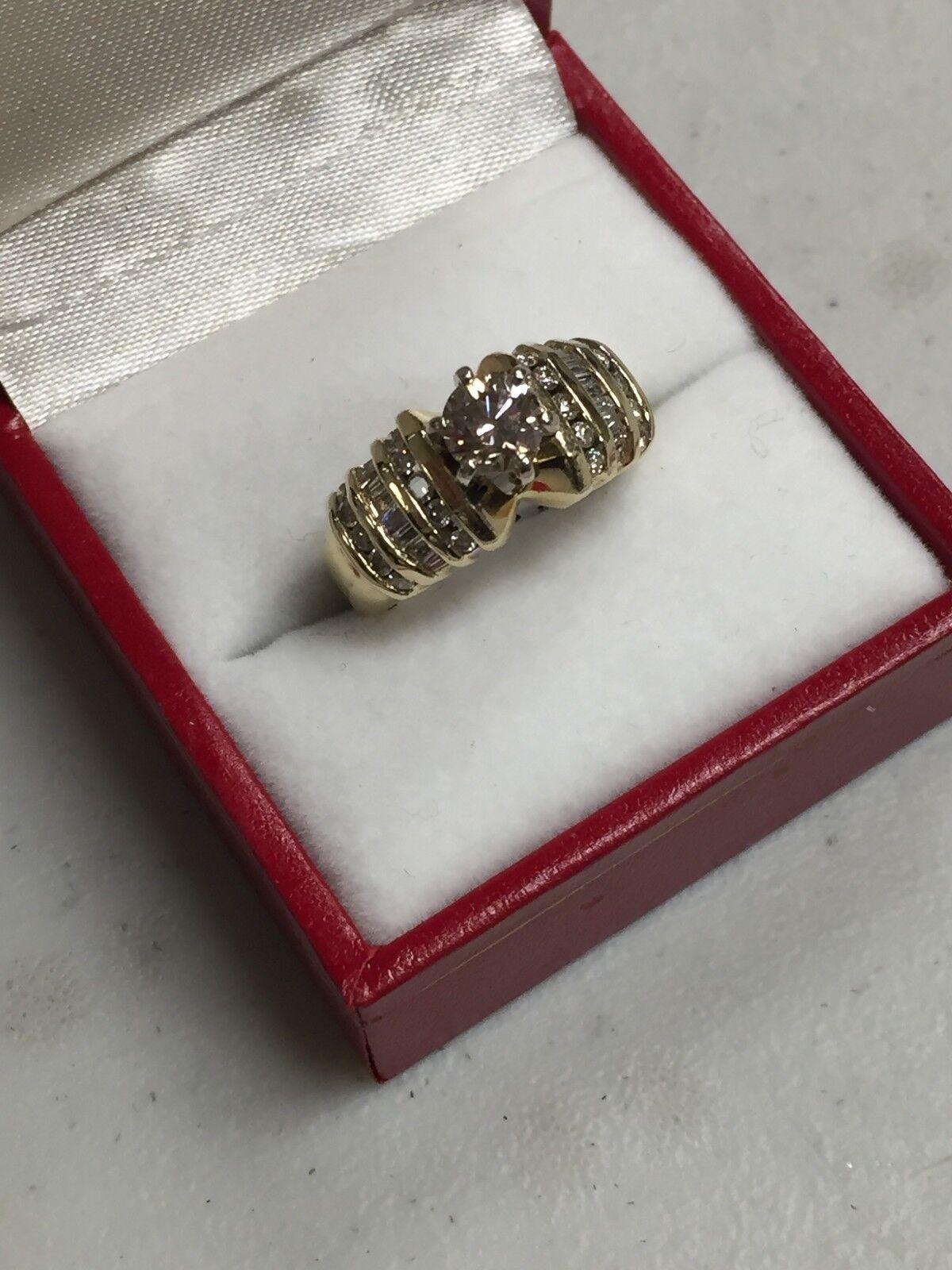 14K YELLOW gold  ROUND DIAMOND 1.32 TCW ENGAGEMENT RING