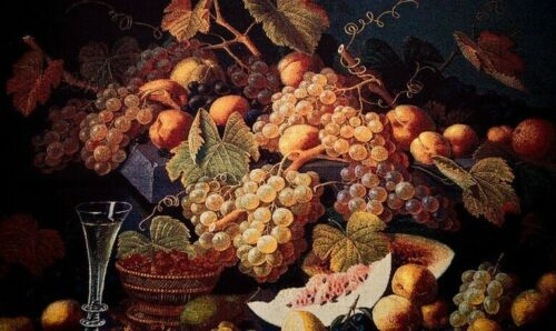 BELGIAN TAPESTRY CHAMPAGNE /& FRUIT STILL LIFE VICTORIAN STYLE WALL ART 104x134cm