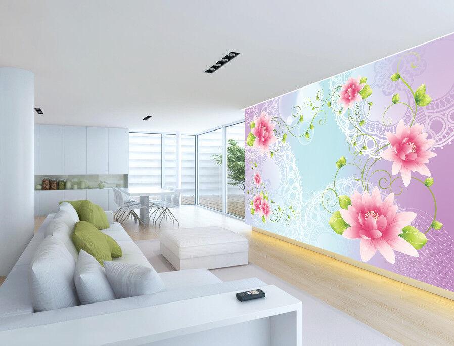 3D Laces Pink Lotus 74 Wall Paper Murals Wall Print Wall Wallpaper Mural AU Kyra