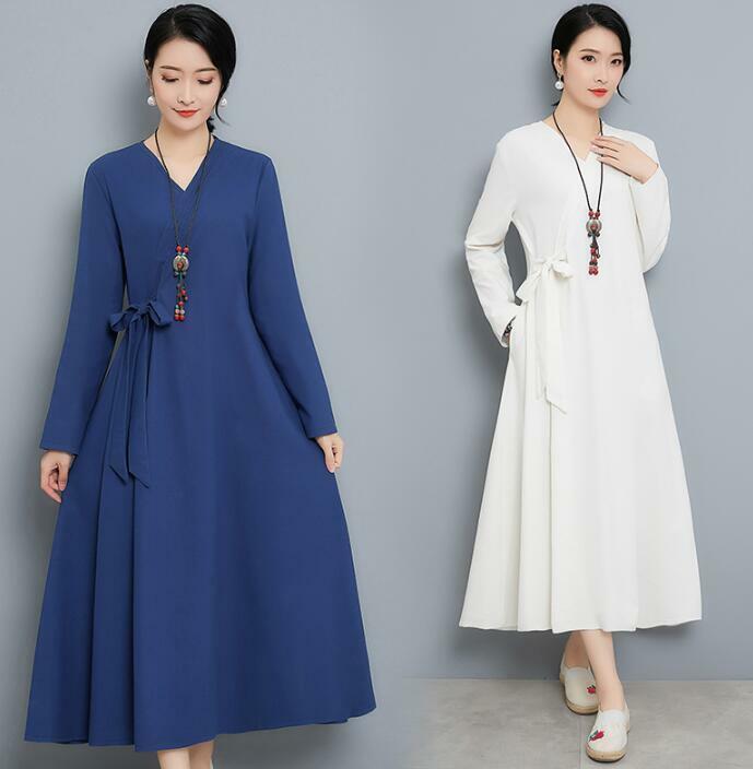 Women Linen Long Sleeves Solid Ethnic Dress Robe V Neck Chinese Style Ske15