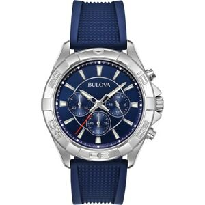 Bulova-Men-039-s-Quartz-Chronograph-Multi-Dial-Blue-Silicone-Band-42mm-Watch-96A214