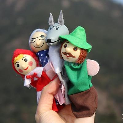 4 WOODEN Head FINGER PUPPETS toy LITTLE RED RIDING HOOD story telling kids gift